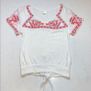 O'Neill Embroidered Back Tie Top